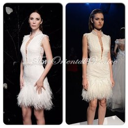 Wholesale Sexy Plunging Cocktail Dresses - Mini Short White Ostrich Feather Cocktail Dresses Sexy Plunging V Neck Lace Appliques Robe de Cocktail Party Gowns Vestido Curto
