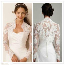 Wholesale Noir Dress - Jacket Sexy Lace Bolero Wedding Dresses Bolero Mariage Noir Evening Coat Robe Ivory Long sleeves new 2017
