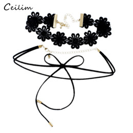 Wholesale Long Bowknot Necklace - New Design Vintage Flower Statement Lace Velvet Choker Necklace for Women Lady Black Long Rope Bowknot Gothic Chokers Fashion Jewelry Gift