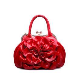 Wholesale Patent Hobo - European and American Fashion Patent Leather Women Shoulder Bags 2016 New Brand Womens Diamond Handbags Flowers Bride Handbag
