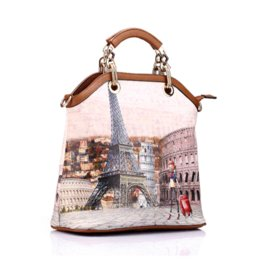 Wholesale Branded Womens Bag - New Realer brand printed leather bag vintage handbag womens medium big tote bags female crossbody bags for women handbag 3 sets