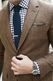 Wholesale Vintage Mens Blazers - 2017 Wool Herringbone Tweed Tuxedos Vintage Brown Men's Suit British Style Suit Jacket Men Custom Slim Fit Mens Blazer Wedding Suits For Men