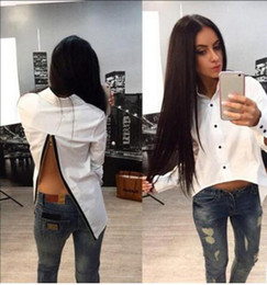 Wholesale Europe Woman S Ladies Blouses - 2017 Women Blouses Europe and the United States sexy Back zipper split long sleeve Shirts Causal Slim Lady Clothing Tops Blouses