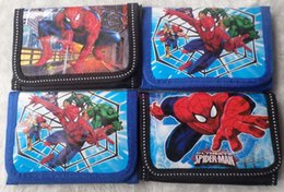Wholesale One Shoulder Kids - Free Shipping 36 Pcs Spiderman Coin Purses Mini Wallets Mix Lots Spiderman Character Children Kid Gift Fashion Wholesale