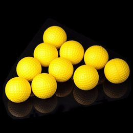 Wholesale Indoor Golf Training - 1000pcs New golf Balls Soft Indoor Practice PU Yellow Golf Balls Training Aid Wholesale golf pelotas EMS Free shipping