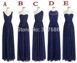 Wholesale Dress One Shoulders - 5 Styles Wedding Party One Shoulder Chiffon Floor Length Long Navy Blue Bridesmaid Dresses Wholesale Vintage Goods S23