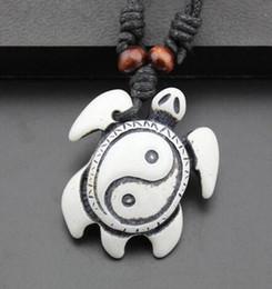 Wholesale Turtle Necklace Bone - For Christmas Gifts Fashion Jewelry Imitation Yak Bone Carving Turtles Pendant Adjustable Cord Necklace