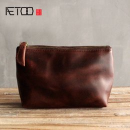 Wholesale Faux Leather Trunks - Aetoo Original Leather Simple Portable Makeup Bags Head Layer of Leather Ladies Small Hand Bag Package Bag Travel Cosmetic Bag Beauty Case