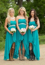 Wholesale Turquoise Sequin Dress Cheap - 2016 Cheap Hot Country Bridesmaid Dresses For Weddings Teal Turquoise Chiffon Sweetheart High Low Beaded Belt Party Dress Maid Honor Gowns