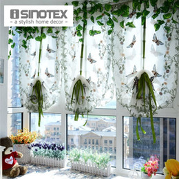 Wholesale Embroidered Tulle Curtains - 1 PCS Pastoral Tulle Window Roman Curtain Embroidered Sheer For Kitchen Living Room Bedroom Window Curtain Screening Butterfly