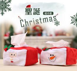Sets de serviettes en tissu en Ligne-2017 nouvelles décorations de Noël couverture de boîte de papier couverture de table définit Santa Claus et chiffon de bonhomme de neige mis décorations mignonnes