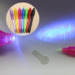 Wholesale Invisible Ink Pen Light - Wholesale-1PC 2 in 1 Magic Invisible Ink Pen UV Black Light Combo Invisible Ink Pen Security Mark Creative