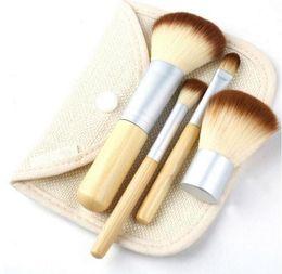 Wholesale Blush Brushes - Professional 4pcs Bamboo Handle Makeup Brushes Set Cosmetic Kit Powder Eyebrow Blush Make Up Brushes Styling tools Face Care