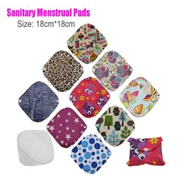 Wholesale Reusable Sanitary Pads Bamboo - Wholesale-10pcs lot 18*18cm Soft Breathable Bamboo Washable Reusable Mama Menstrual Sanitary Period Cloth Pads for Women Panty Liners