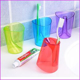 Wholesale Transparent Toothbrush - Creative 2-in-1 Bathroom Transparent 6 Color Wash Gargle Cup, Toothbrushing Mug Anti-scale Toothbrush Water Cup With Retail box