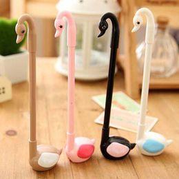 Wholesale Seat Office - 10pcs lot Seat Kawaii Cute Swan Shape Writing Pens Gel Pens Promotional Pens Cute Prize Gifts Stationery