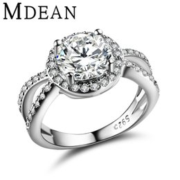 Wholesale Wedding Rings Gold Set - MDEAN Round Women engagement Rings AAA Zircon White Gold Plated wedding Rings For Women classic jewelry Bague Accessories MSR319