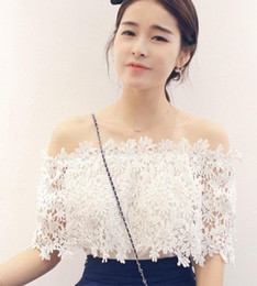 Wholesale Cute Chiffon Tops - Korean new lace Chiffon off shoulder slash neck short shirts women summer spring cute Stitching fashion blouses tops coat t-shirt outwear
