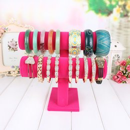 Wholesale Tier Bracelet Display Bar - 2 Tiers T-Bar Velvet Bangle Bracelet New Arrival High Quality Hot Watch Holder Jewelry Display Stand Free Shipping Dec 14