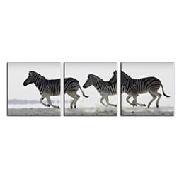 Wholesale zebra print wall decor - 3 Piece Black And White Zebra Oil Painting Canvas Wall Art Decor Painting Patterns Wall Pictures Decoration for Living Room And Office