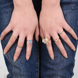 Wholesale vintage silver snake ring - 6PCS Vintage Bohemia Rings Alloy Antique Silver Snake Elephant Charms Rings Wedding Accessories For Women Wholesale