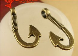 brass necklace charms Australia - A3952 19*31MM Antique bronze Hand DIY jewelry making fishhook charms for bracelet, vintage metal brass fish hook pendants for necklace