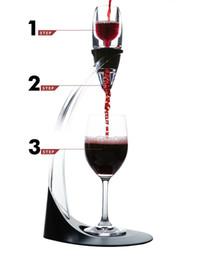 2019 set de regalo de vino de cristal ECO Friendly Deluxe Wine Aireador Torre Set Red Wine Glass Accesorios Quick Magic Decanter Con Caja de Regalo Acrílicos de Cristal Al Por Mayor ZA1009 rebajas set de regalo de vino de cristal