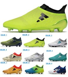Wholesale Indoor Outdoor Shoes - 2018 Men ACE 17 PureControl FG TF Soccer Shoes Football Shoes Soccer Boots New Arrive Mens X 16 Purechaos FG AG Soccer Cleats Fooball Boots