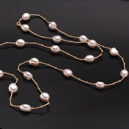 Wholesale Natural Baroque Pendant - jewelry fashion ZHBORUINI High Quality Fashion Long Necklace Baroque Natural Freshwater Pearl Pearl Jewelry For Women Necklace Accessories