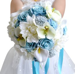 Wholesale New Flower Ribbon Design - New Design Beach ice Blue Bride Bouquet Artificial Flowers Wedding Decoration Ribbon Bunch Wedding Bridal Bouquets Hand Holds