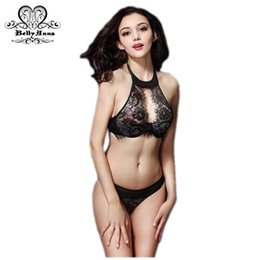 Wholesale Halter Neck Lingerie Set - Wholesale-BellyAnna 2016 Summer New Sexy Lingerie Victoria Women Cutout Lace Underwear Set High-Neck Halter See Through Bras And Thong Set