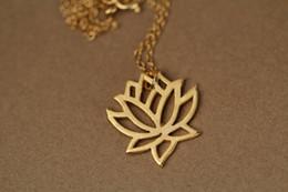 Wholesale Gold Lotus Necklace - Hot sale hippie chic big lotus pendant drop necklace Bohemian fashion women Neclaces 2016 ms thin necklace