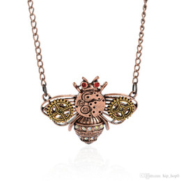 Wholesale Mechanical Jewelry - Cute Bee Gear Rhinestone Pendant Necklace Vintage Steampunk Necklace Ancient Copper Mechanical Animal Jewelry For Women's Accessories G