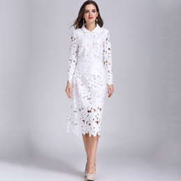 Wholesale Long Skirts Fashion Outfits - Spring Autumn Fashion Women Plus Size 4XL White Lace Twin Set Blouse Slim Skirt Hollow Out Formal Chic 2 Pieces Set Outfits