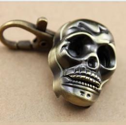Wholesale Vintage Glass Head - Retro Vintage Bronze Steampunk Hollow Skull Head Horror Quartz Pocket Watch with Chain for Girls Women