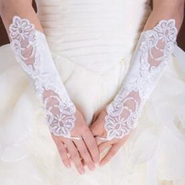 Wholesale Cheap Black Elbow Gloves - Cheap Fingerless Lace Beaded Below Elbow Length Wedding Bridal Glove Bridal Accessories bridesmaid Gloves Free shipping HT116