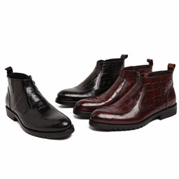 Wholesale Short Heel Wedding Shoes - In 2017, Italian style men boots, black leather shoes fashion wedding shoes Oxford business men short boots