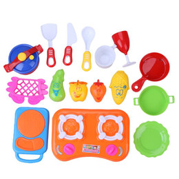 Wholesale Girls Play Kitchen - Wholesale- Baby Kids Girls Pretend Play Kitchen Cooking Toys Kids Children DIY Plastic Educational Role Play Toy Set Plastic Kitchen Toy