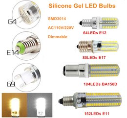 Wholesale E14 Epistar - SMD3014 64LEDs 80LEDs 104LEDs 152LEDs Corn Lights Mini Crystal LED Corn Bulbs G4 G8 G9 E11 E12 E14 E17 BA15D Silicone Gel Lamps