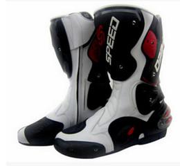 Wholesale Motorcycle Leather Shoes - NEW Motorcycle Boot Waterproof Pro-biker Speed Bikers Moto Rmotorcyle acing Motocross Leather Shoes Motocross Racing Boots