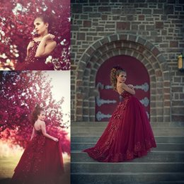 Wholesale Strapless Kids Wedding Dresses - Arabic Burgundy Girls Pageant Dresses Strapless Beads Appliques Flower Girl Dresses for Wedding Tulle Back Lace Up Bows Kids Formal Wear