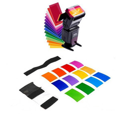 Wholesale Diffuser Kit - 12pc Flash Speedlite Speedlight Color Gel Filters Color Diffuser Strobe Flash Color Lighting Gel Pop up Filter Universal Lighting Filter Kit