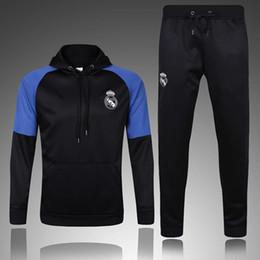 Wholesale Long Jacket Men S Suits - 2017 Real Madrid survetement football hooded tracksuits training suits 16 17 soccer jacket Long pants wear sets RONALDO RAMOS football shirt