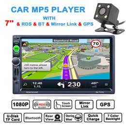 2019 зеркало автомобильная камера gps DHL бесплатно 7 дюймов HD 2 Din Bluetooth стерео MP5 плеер GPS навигация AM FM RDS радио поддержка зеркало ссылка Aux + камера заднего вида CMO_22H дешево зеркало автомобильная камера gps