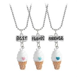 Wholesale Kids Jewelry Set Silver - 3 pcs set Best Friends Forever BFF Ice-cream Pendant Necklace Women Kid Girl Mini Food Love Cute Heart Chain Friendship Jewelry Gift