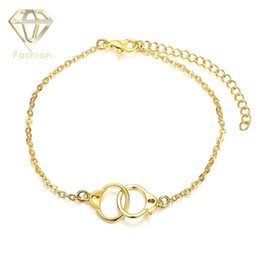 Wholesale Fashion Bracelets Online - Online Gold Plated Jewellery New Fashion Double Circles Link Creative Romantic European Style Handcuffs Bracelets for Women