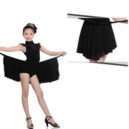 Wholesale Professional Dance Leotards - Professional Black Ballroom Dance Dress Suit Turtleneck Tulle Shoulder Lycra Dance Leotard Dress Magical Two-Piece Latin Perfomance Costumes