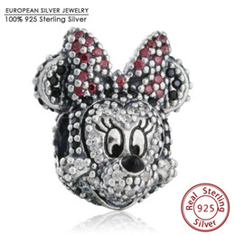 Wholesale Crimps For Jewelry - Pave Red CZ Bow-knot Cartoon Animal Charm Beads 925 Sterling Silver Mouse Bead Diy Brand Bracelets Fine Jewelry For Bay Girl