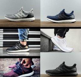 Wholesale Hot Athletic Shoes Woman - Hot Ultra boost 3.0 Triple Black Running Shoes Men Women High Quality Ultra Boost Hypebeast Primeknit Core Black White Athletic size36-45