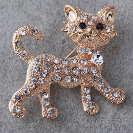 Wholesale vintage round brooches - Full Shining Rhinestone Vintage Cat Kitty Brooches Wedding Gift Jewelry Brooches for Women keepinmemory Animals